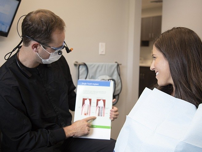 Dentist and patient looking and dental implant tooth replacement information