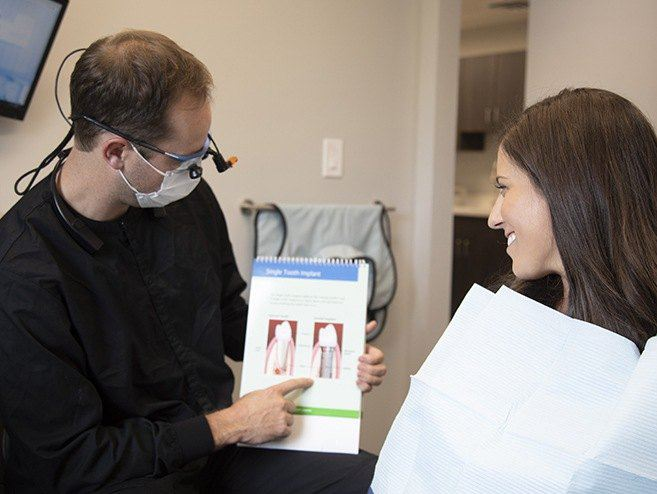 Dr. Dan Maurer explaining dental implants to a patient