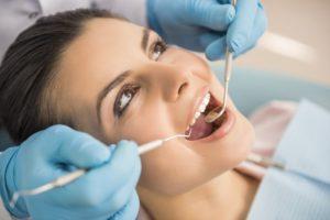 Woman having a dental exam.