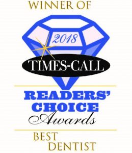 The logo for best dentist from Times-Call Magazine.