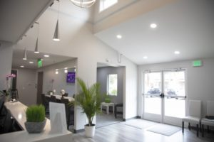 Reception area of newly remodeled dental office in Longmont